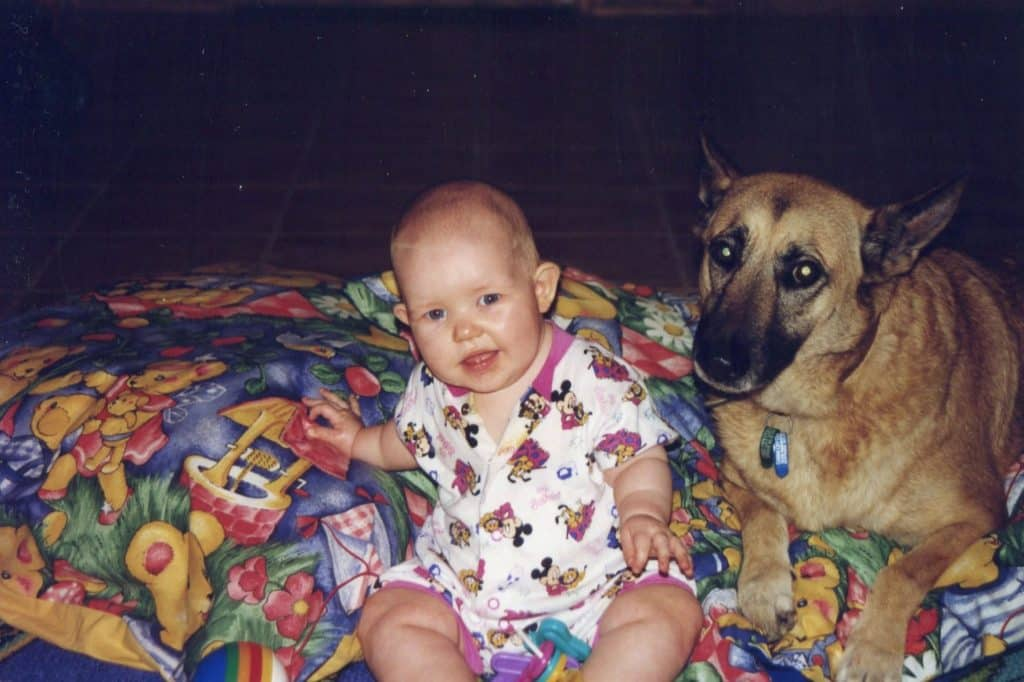 Baby Kate with our beloved dog Tia