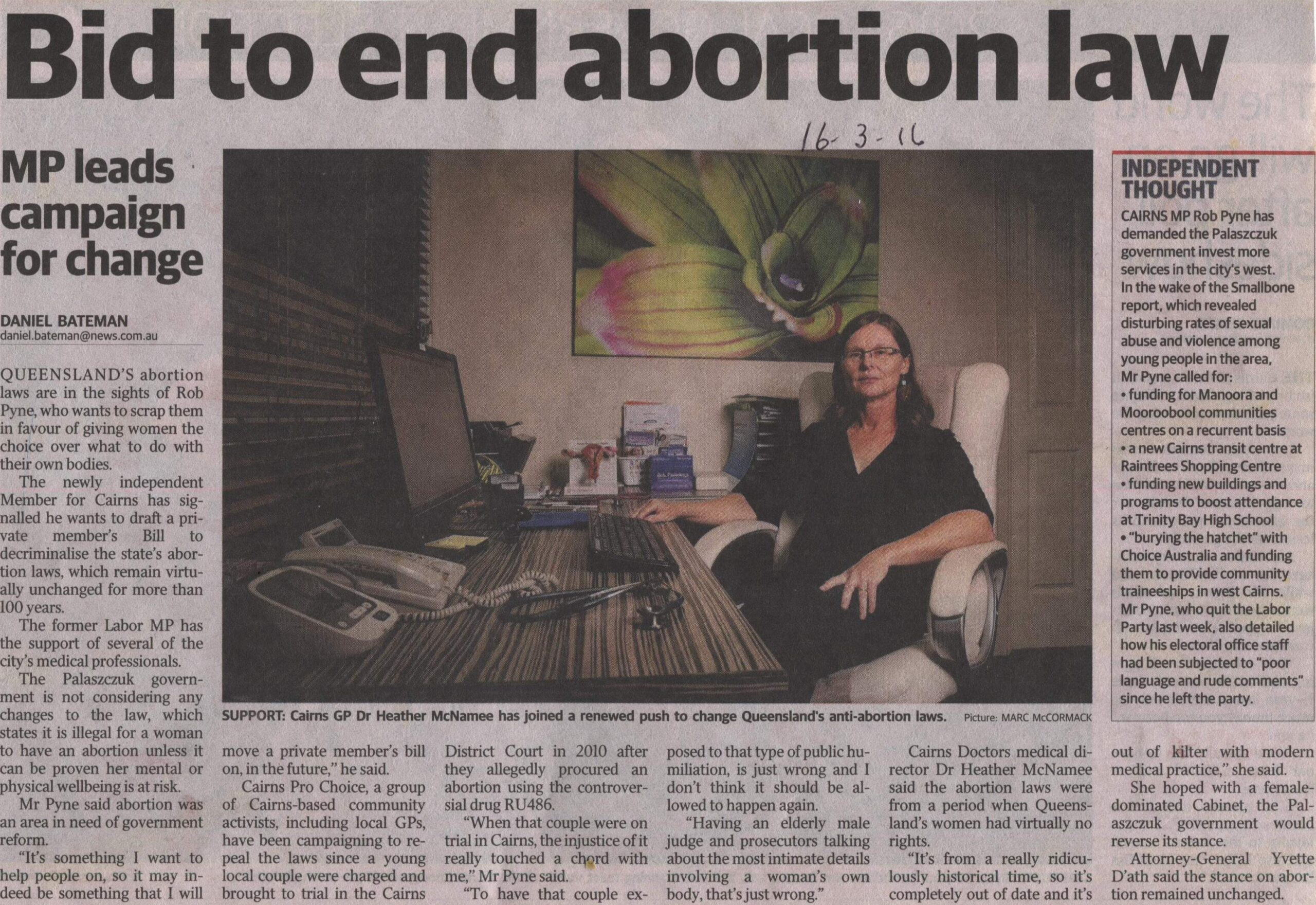 """""""Bid to end abortion law"""" published 16-3-2016."""