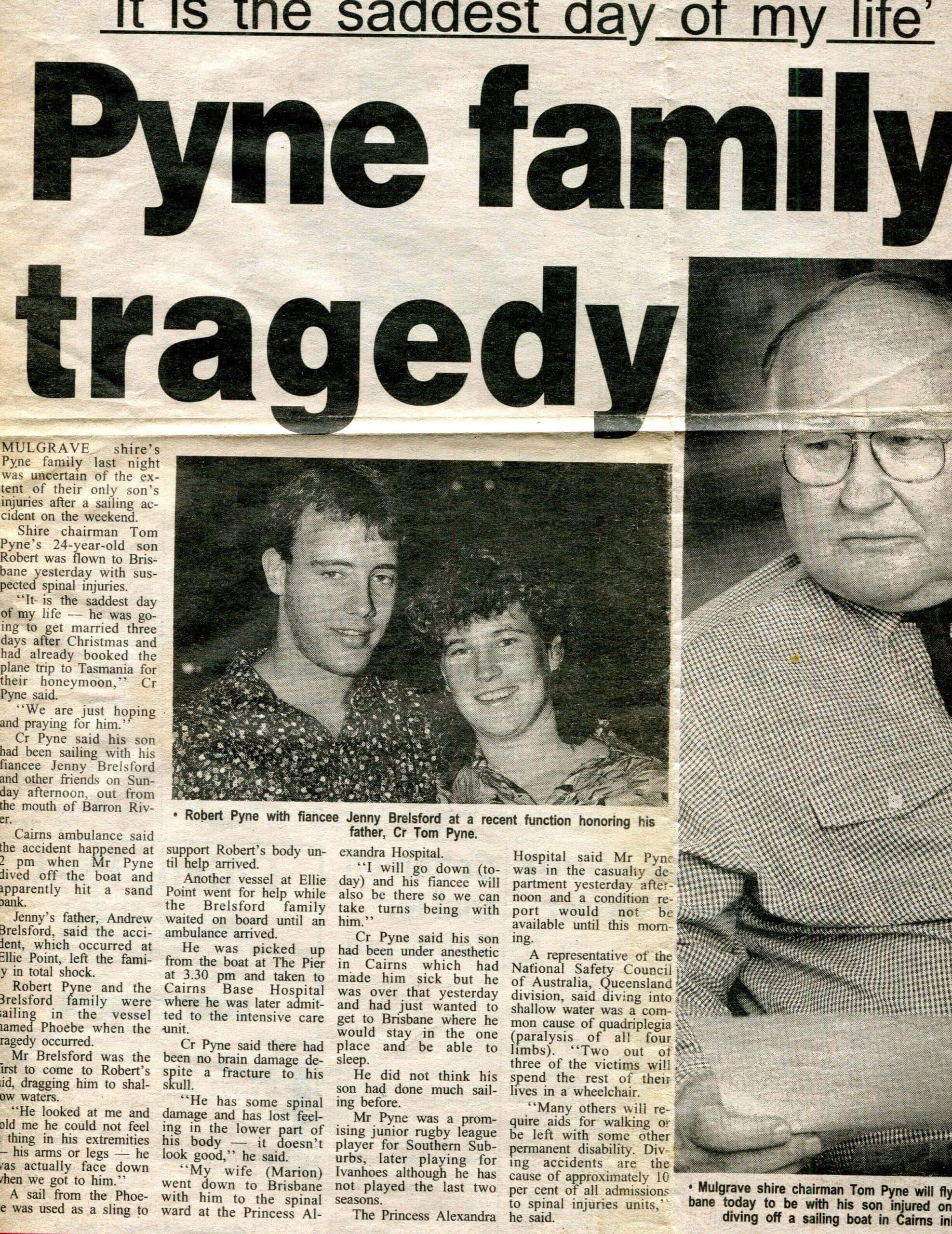 Newspaper article Rob Pyne admited to Princess Alexandra Hospital