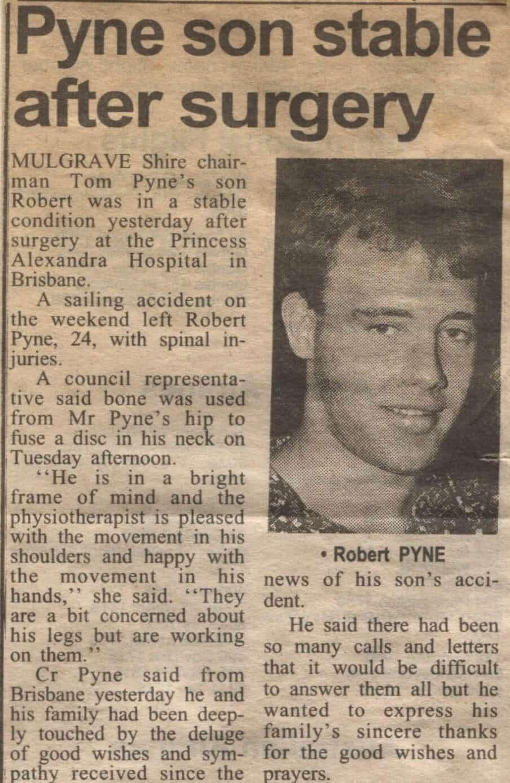 Newspaper article following Rob Pyne admission to Princess Alexandra Hospital