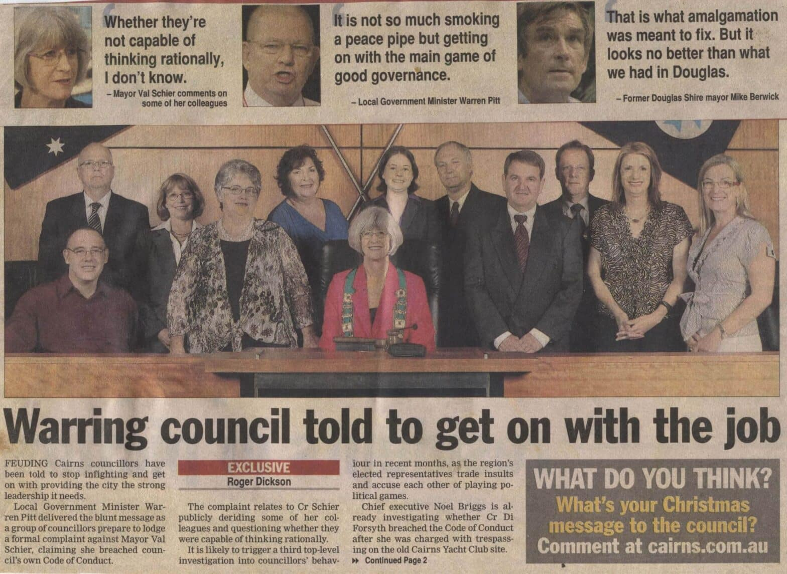 Cairns Regional Council infighting 2008