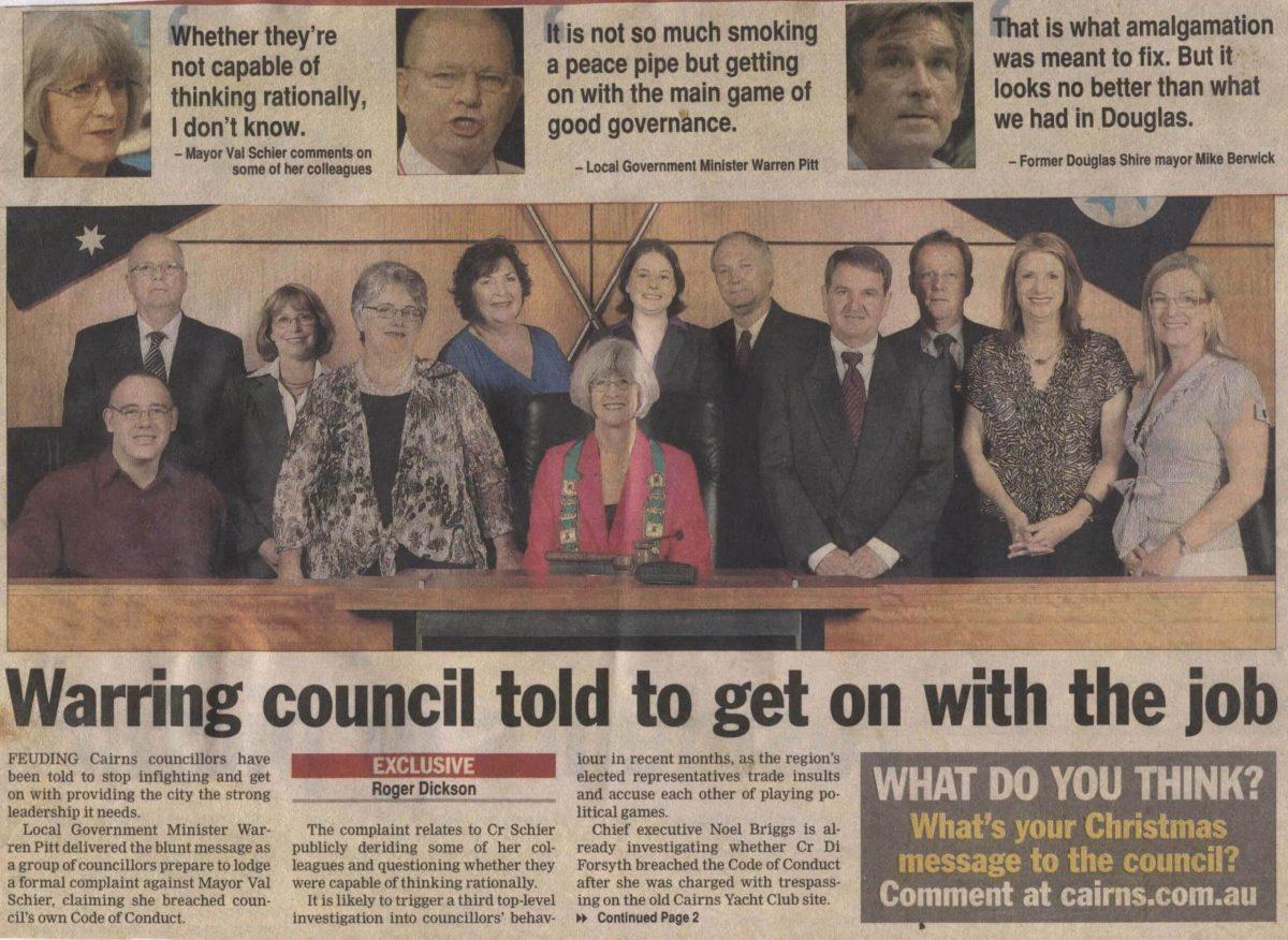 Cairns Regional Council infighting 2008