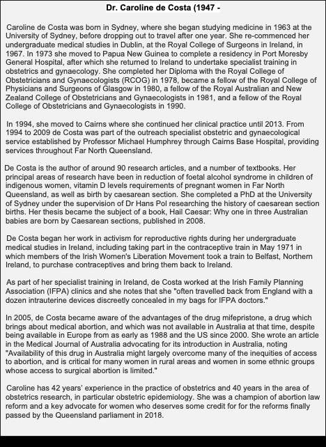 Bio of Dr. Caroline de Costa: Champion of abortion law reform.