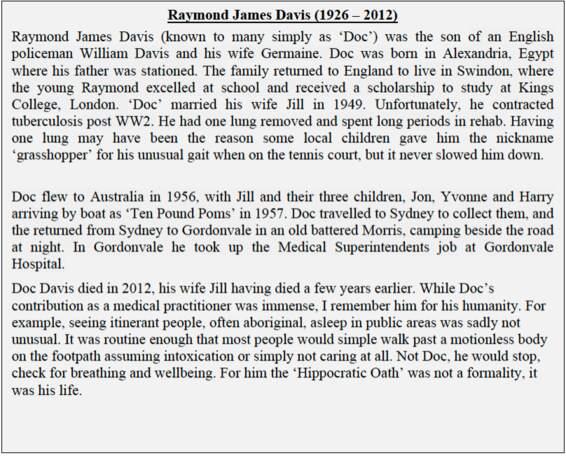 Far North Queensland Doctor - Raymond Davis (1926-2012)