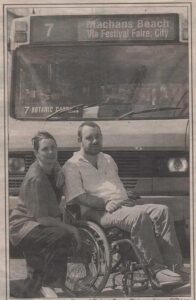 Julie Fry and Rob Pyne taking on the bus company for people with disabilities.